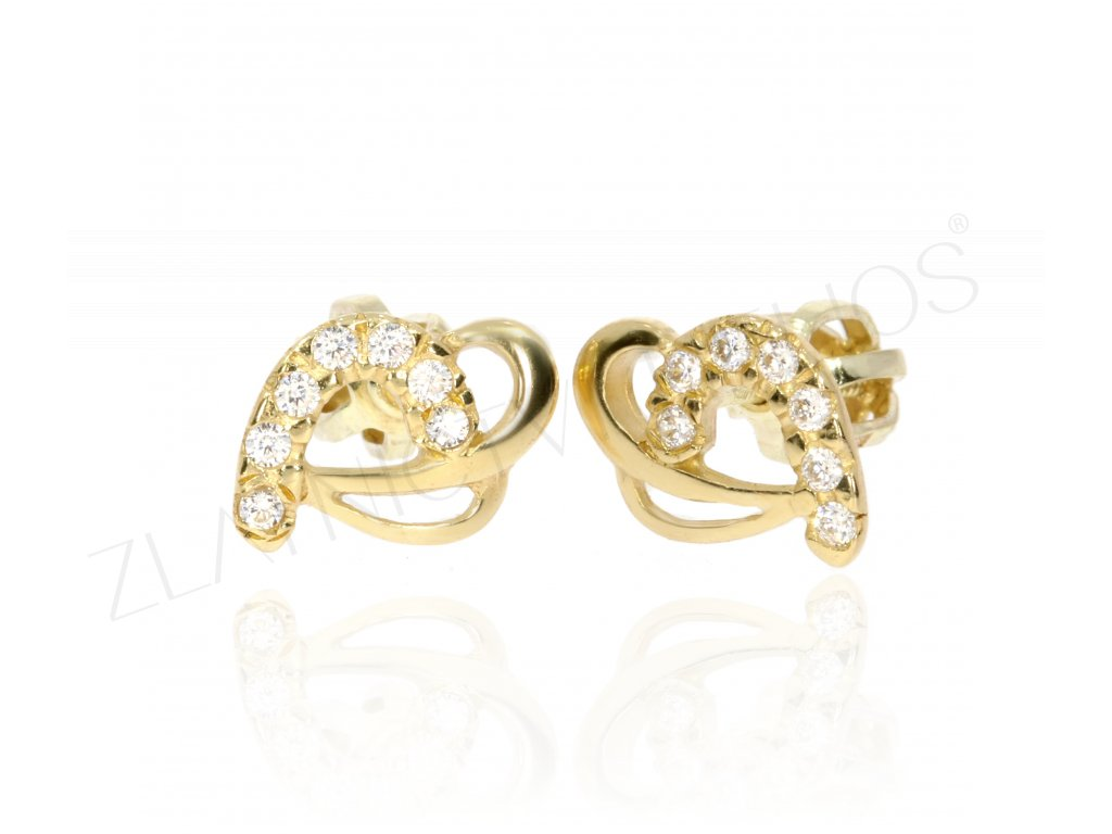 Zlatá souprava zdobená zirkony (Kameny Se Zirkony, Materiál Žluté zlato, Šperk Přívěšek)