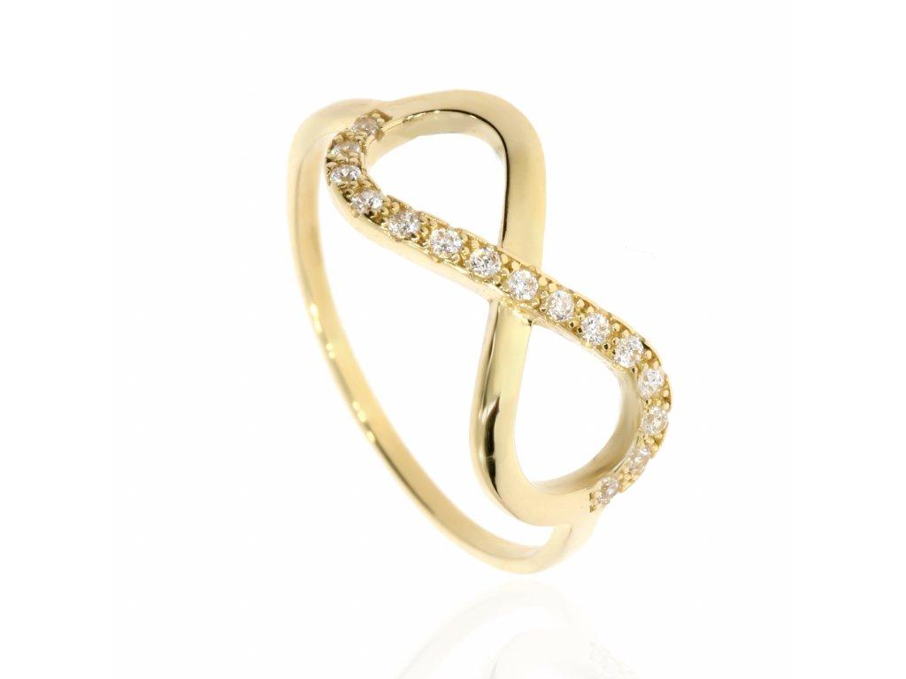 Zlatý prsten se zirkony- symbol nekonečna (Velikost 54)