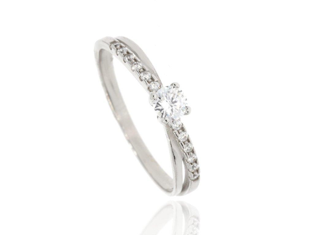 Zlatý prsten se zirkonem (Velikost 55)