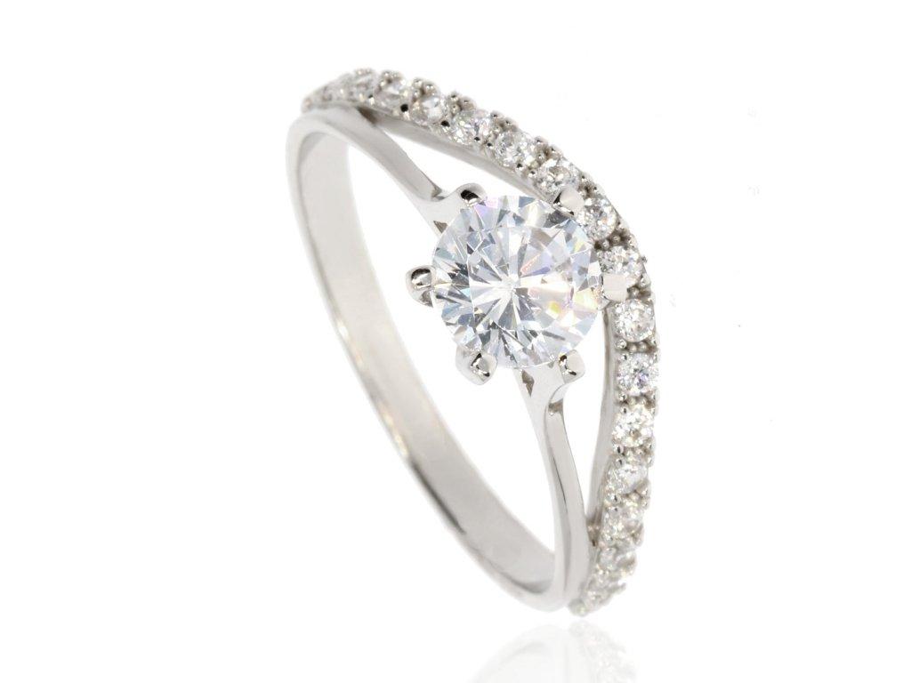 Zlatý prsten se zirkony (Velikost 55)