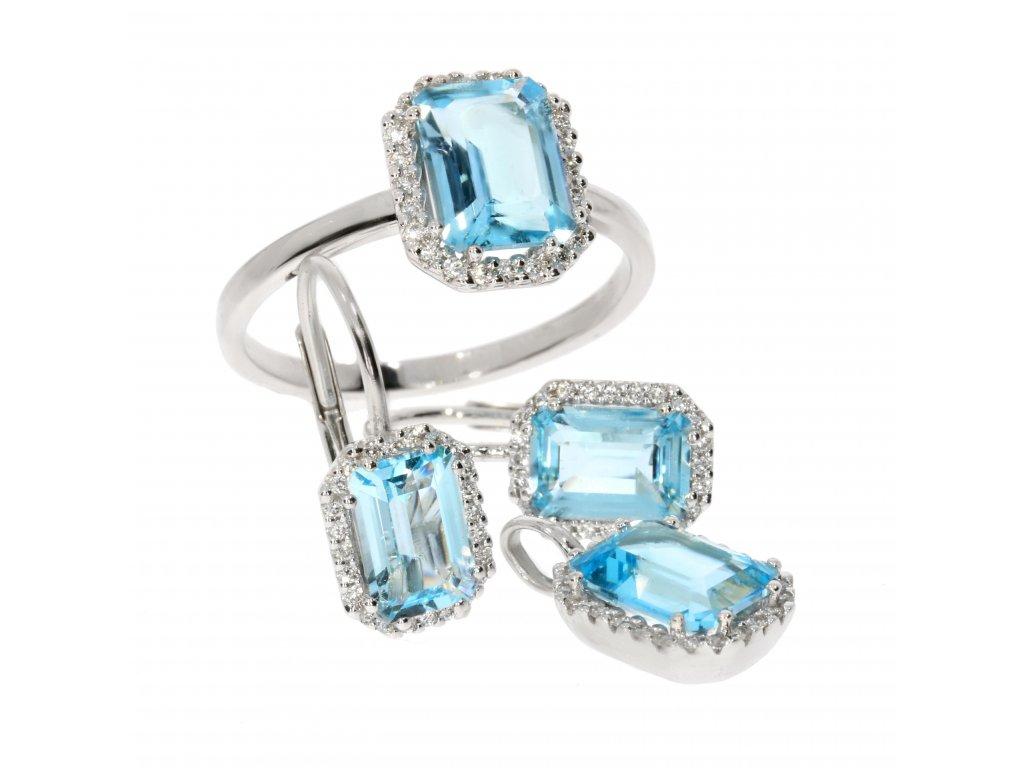Souprava z bílého zlata s topazem a brilianty (Kameny S Diamanty, Materiál Bílé zlato, Šperk Prsten)