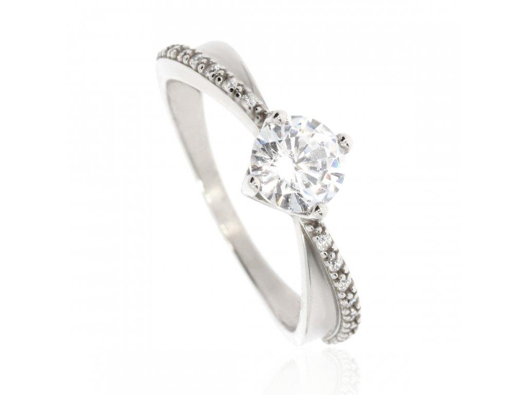 Stříbrný prsten se zirkony (Velikost 60, Váha 1,7g)
