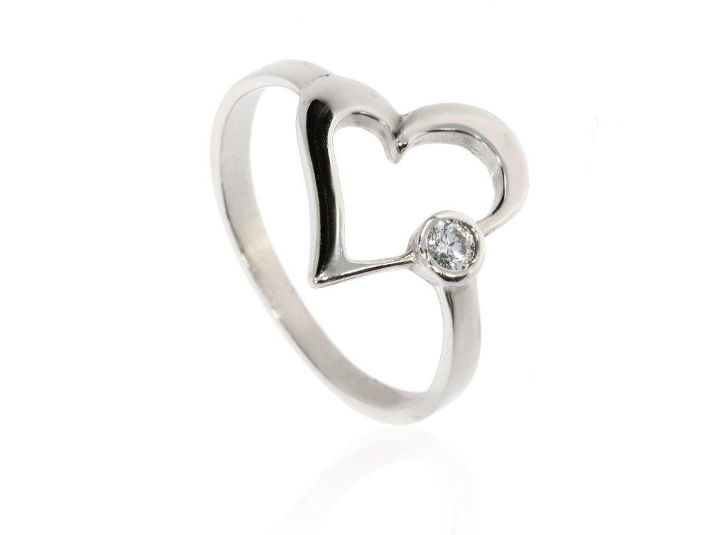 Stříbrný prsten se srdíčkem (Velikost 57, Váha 2,6g)