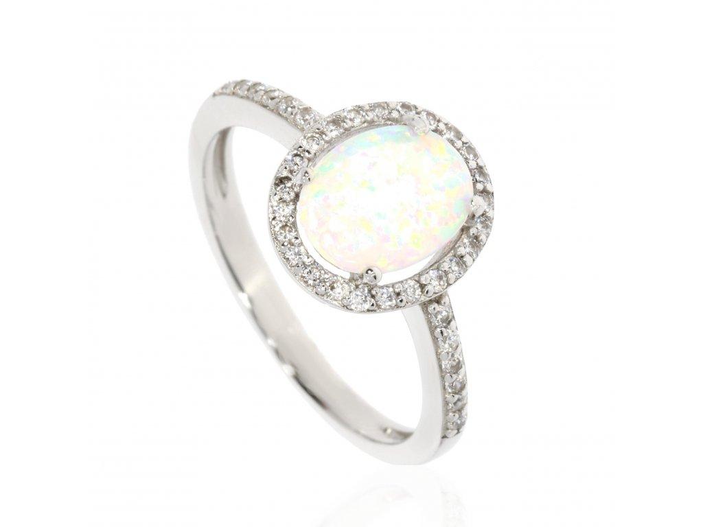 Stříbrný prsten zdobený zirkony a opálem (Velikost 57, Váha 2,2g)