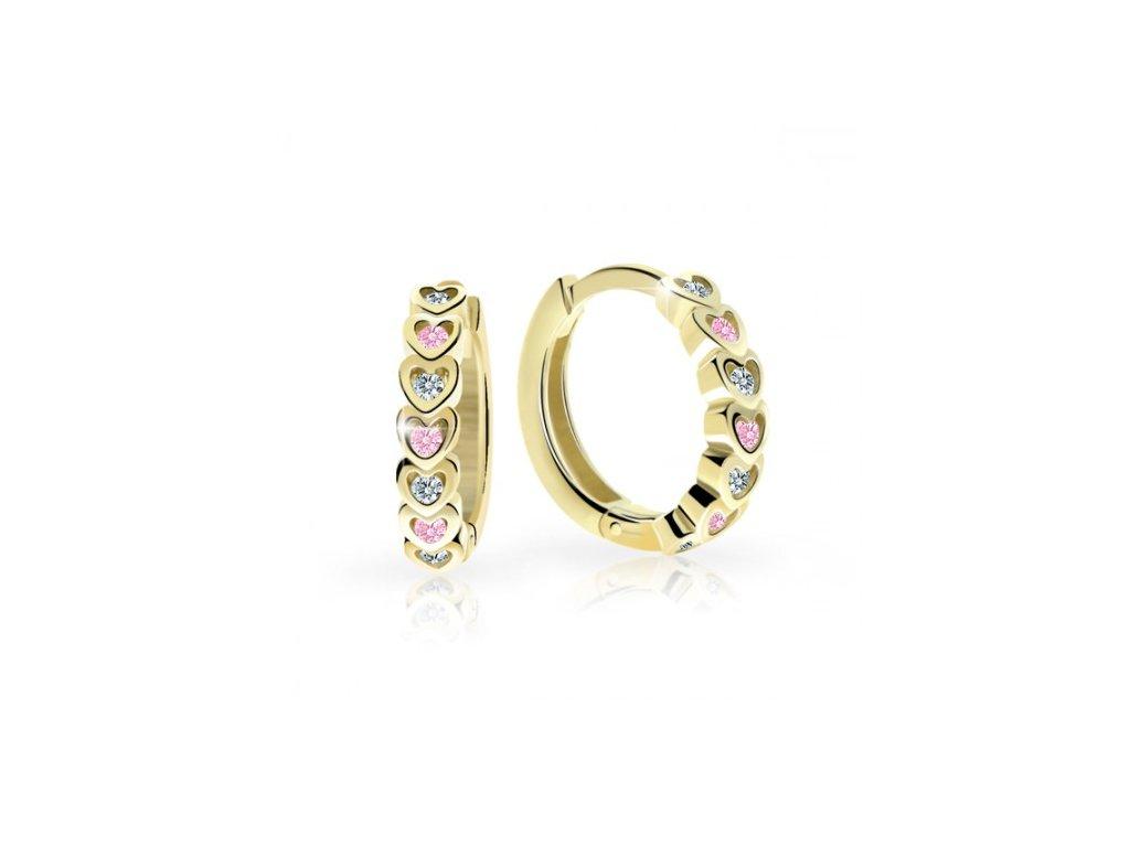detske nausnicky danfil krouzky c3341 ze zluteho zlata s kaminky pink 15876