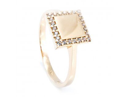 Zlatý prsten se zirkony do čtverce