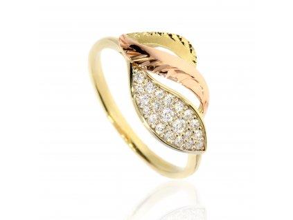 Zlatý prsten zdobený zirkony B40939