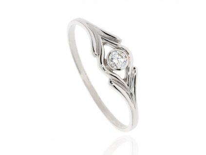 Zlatý prsten se zirkonem (Materiál Bílé zlato, Velikost 60)
