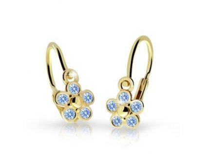 detske nausnicky danfil kyticky c2744 ze zluteho zlata s kaminky arctic blue 15617