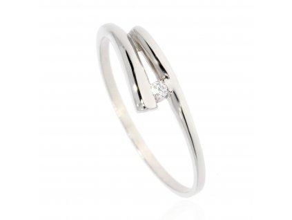 Zlatý prsten se zirkonem (Materiál Bílé zlato, Velikost 52)