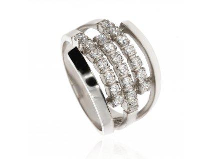 Zlatý prsten se zirkony (Materiál Bílé zlato, Velikost 66)
