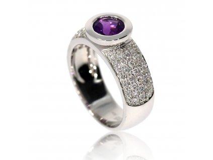 3998 zlaty prsten s brilianty a ametystem