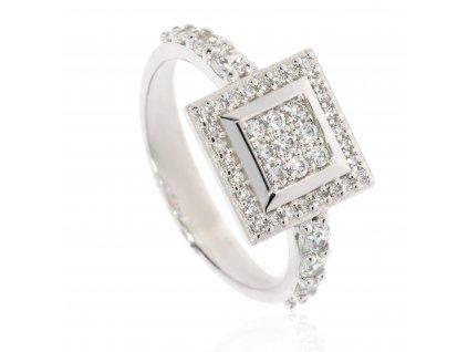 4136 zlaty prsten se zirkony do ctverce
