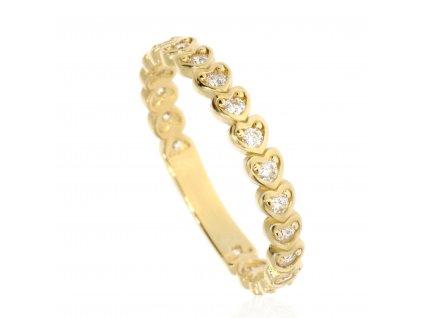 Zlatý prsten se zirkony (Velikost 56)