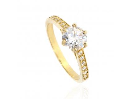 Zlatý prsten se zirkony (Velikost 53)