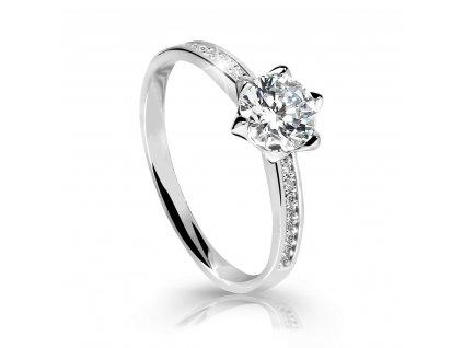 Prsten z bílého zlata zdobený zirkony (Velikost 58)