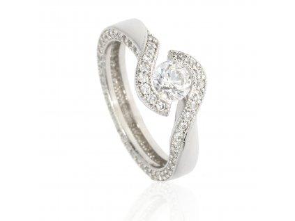 Zlatý prsten z bílého zlata se zirkony