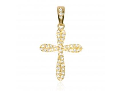Zlatý přívěšek křížek se zirkony
