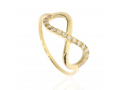 Zlatý prsten se zirkony- symbol nekonečna