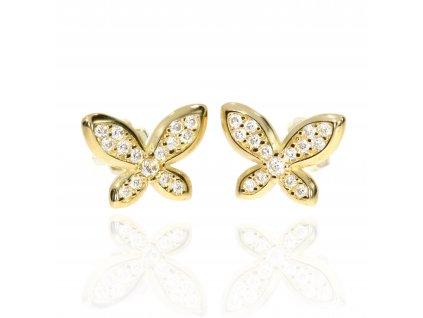 Náušnice se zirkony motýlci