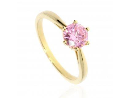 Zlatý prsten s růžovým zirkonem