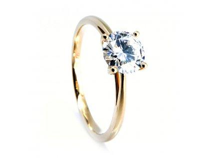 Zlatý prsten s centrálním Moissanitem