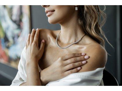 Souprava zlatých šperků (Kameny Se Zirkony, Váha 7,5g, Šperk Náramek)