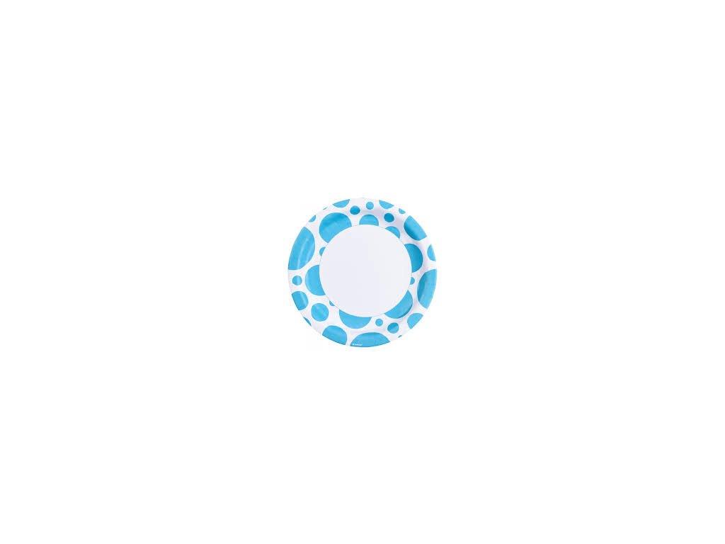 Talíře modré - puntíkaté  8 ks