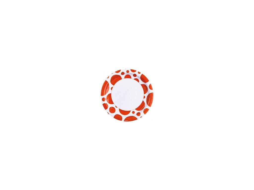 Talíře oranžové - puntíkaté 8 ks