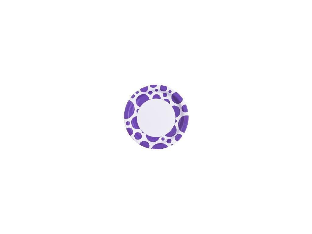 Talíře fialové - puntíkaté 8 ks