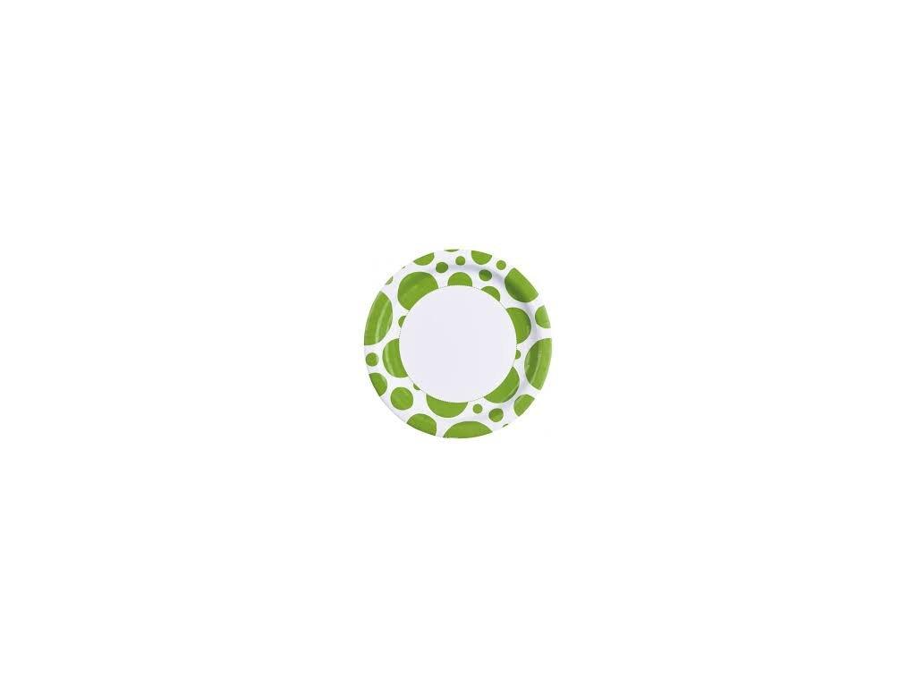 Talíře zelené - puntíkaté 8 ks