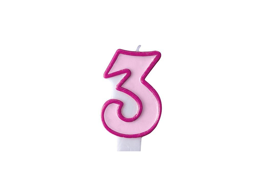691 narodeninova sviecka s cislom 3 ruzova