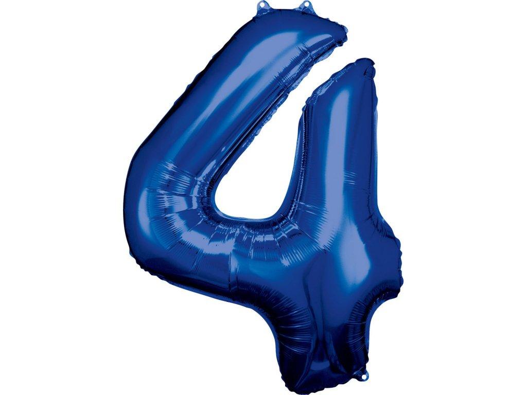 Balónek fóliový narozeninové číslo 4 - modrý 86 cm