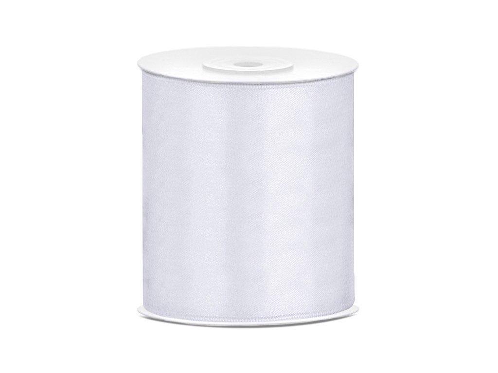 Saténová stuha bílá 100mm/25m