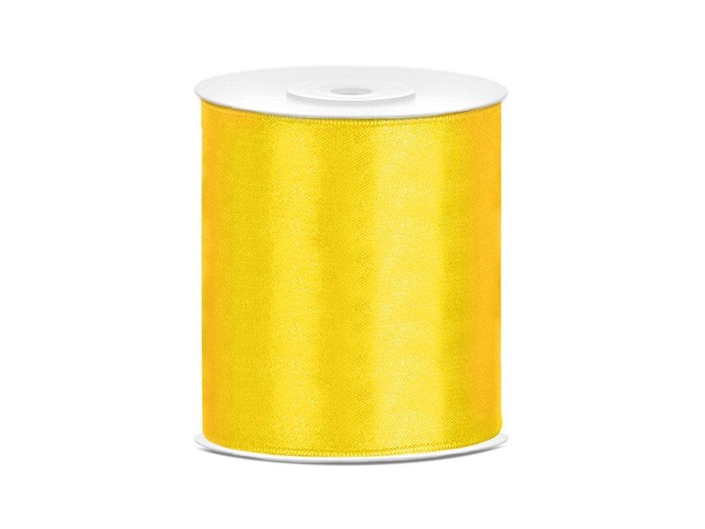 Saténová stuha žlutá 100mm/25m
