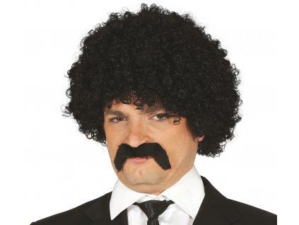 Černá kudrnatá paruka s vousy
