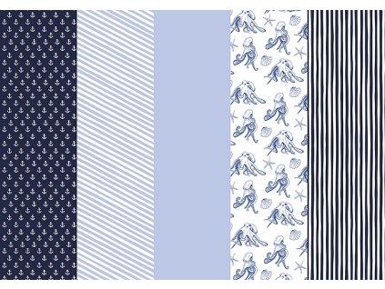 Balící papír modro-bílý mix