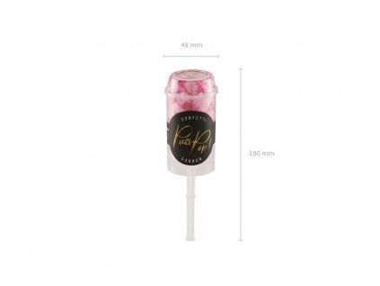 Malé vystřelovací konfety růžoví barvy.