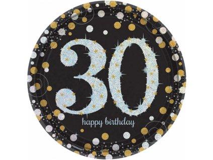Talíře 30. narozeniny zlaté třpytivé