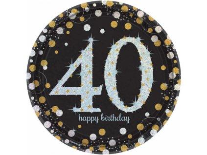 Talíře 40. narozeniny zlaté třpytivé