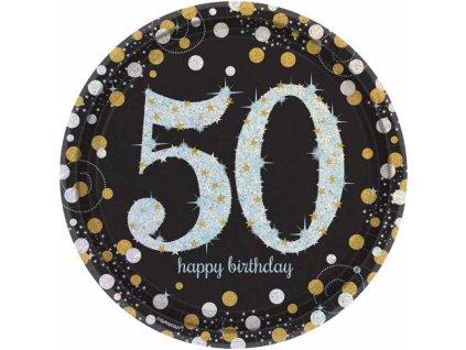 Talíře 50. narozeniny zlaté třpytivé