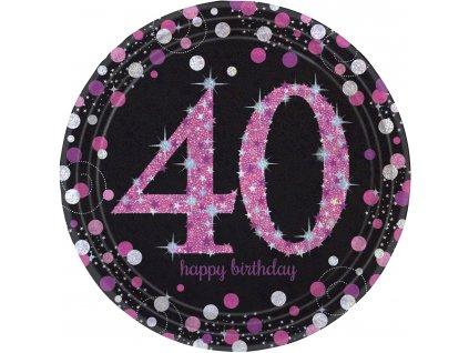 Talíře 40. narozeniny růžové třpytivé