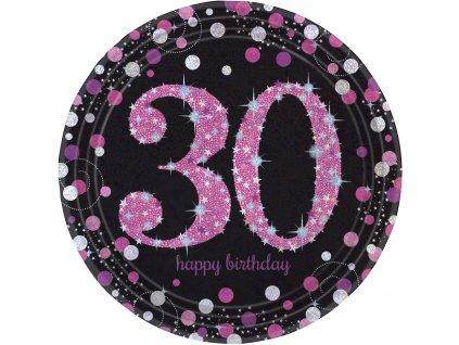 Talíře 30. narozeniny růžové třpytivé