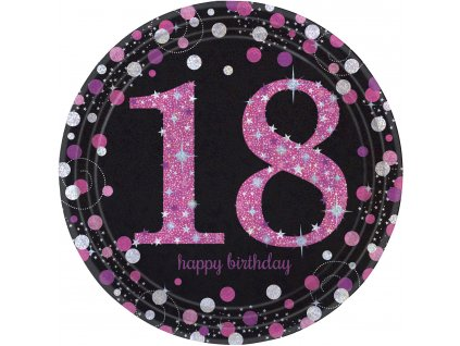 Talíře 18. narozeniny růžové třpytivé