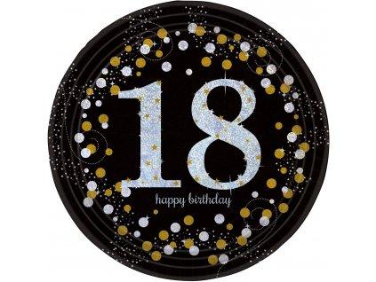 Talíře 18. narozeniny zlaté třpytivé