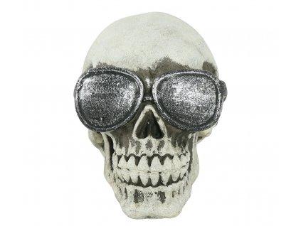 Dekorace - Lebka s brýlemi 11 cm