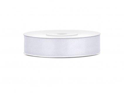 Saténová stuha - bílá 12 mm / 25 m