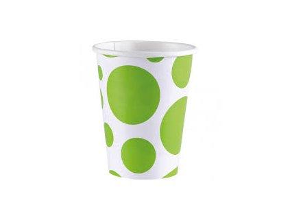 Kelímky zelené - puntíkaté 8 ks