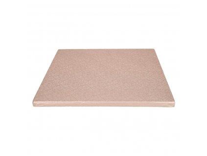 štvorcová ružovozlatá podložka pod torty