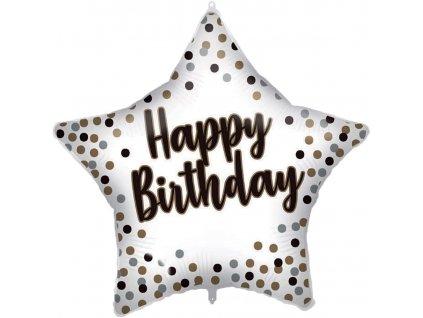 Fóliový balón - Hvězda Happy Birthday - bílý 46 cm